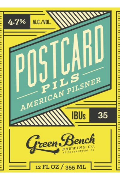 Green Bench Postcard Pilsner